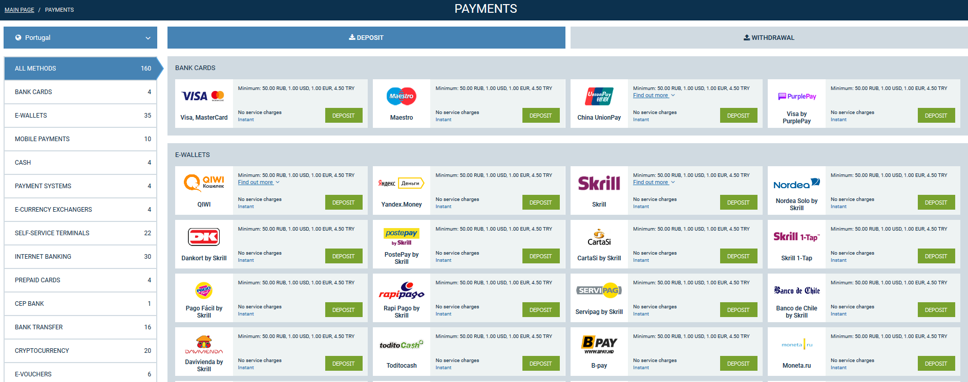 1xbet payments